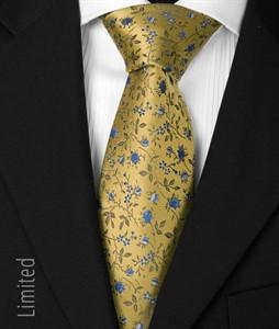 7 fold Krawatte gelb-blau 1010