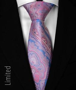 7 fold Krawatte Blau-Fuchsia 1012