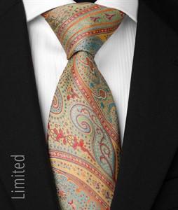 Seven fold Krawatte Türkis-Safran 1014
